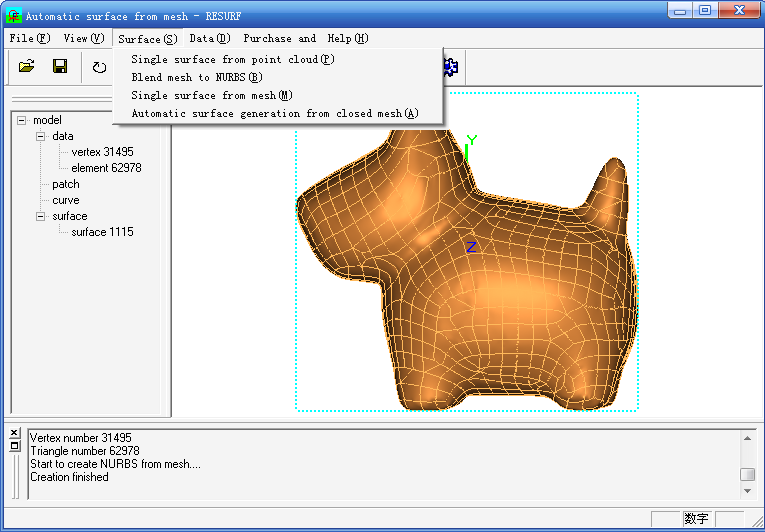 Click to view Automatic surface from mesh screenshots