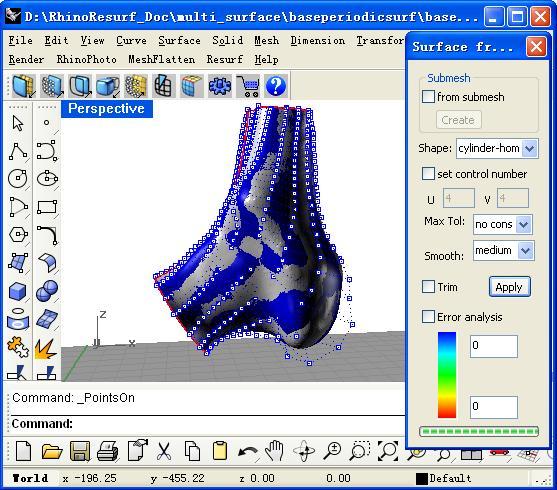 RESURF - RhinoResurf, unfold mesh, mesh to NURBS, point